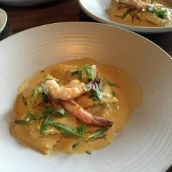 Ravioli w/ Lobster Cream and Grilled Prawns